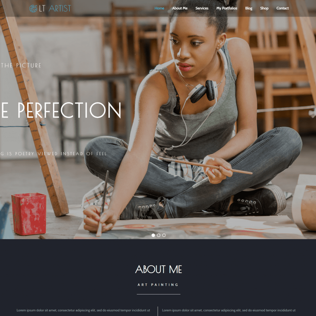 Free lt artist onepage wordpress theme