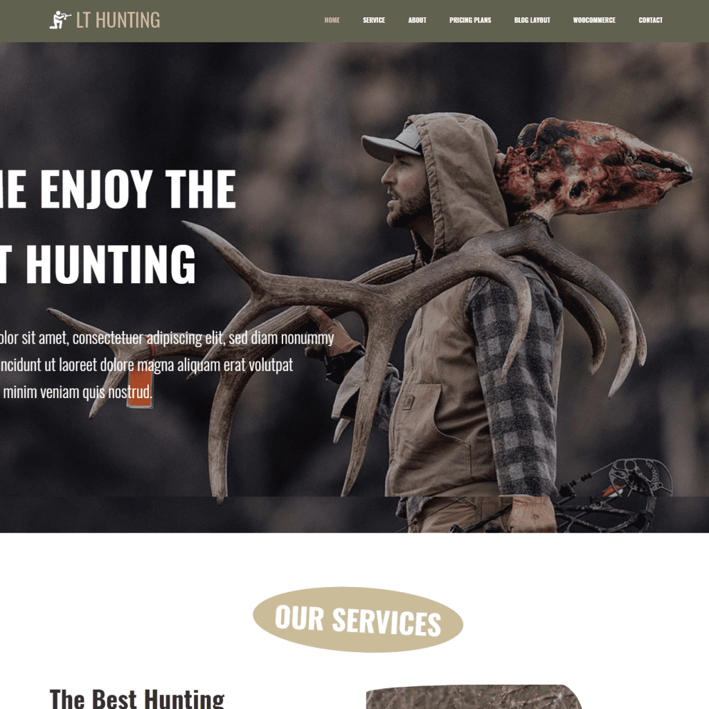 Free lt hunting onepage wordpress theme