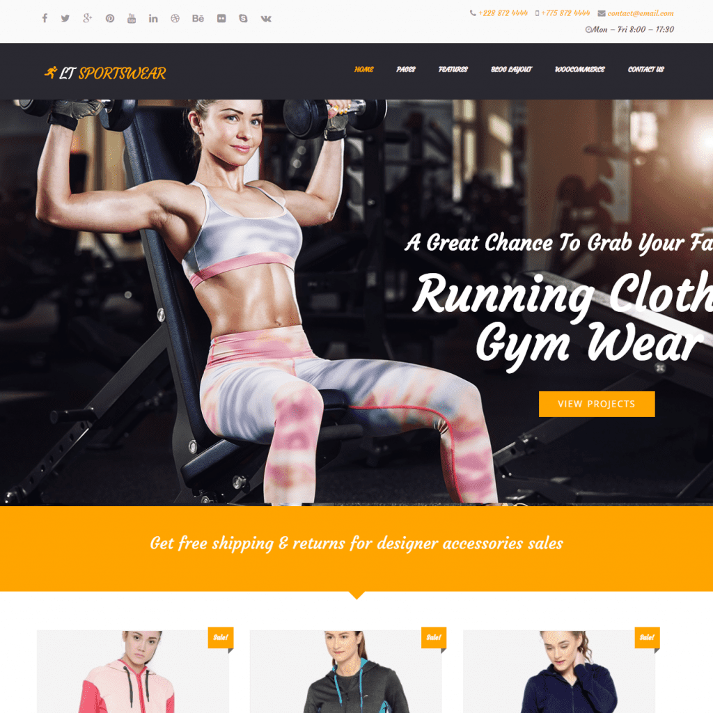 Free lt sportswear wordpress theme