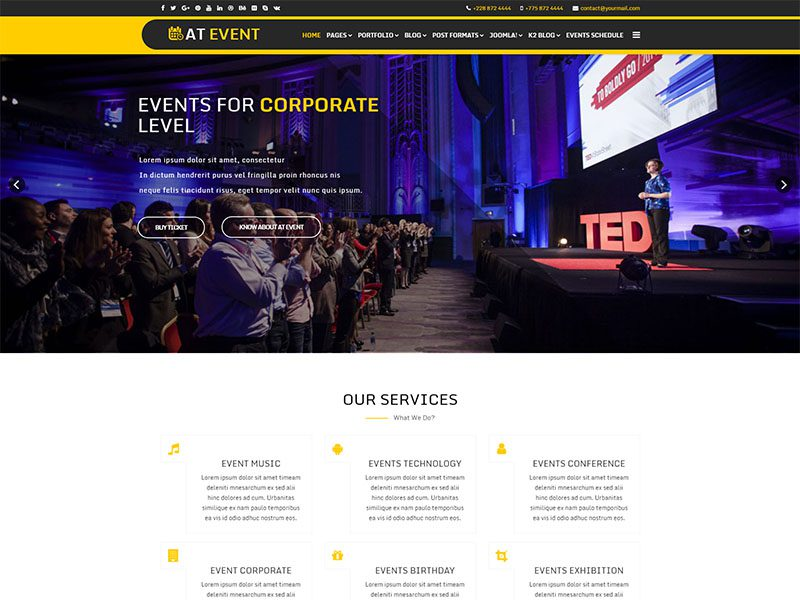 free at event joomla template
