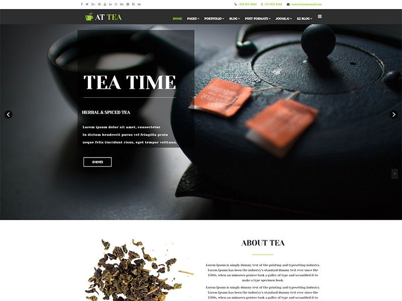 At Tea Free Responsive Tea Website Template Freemium Download