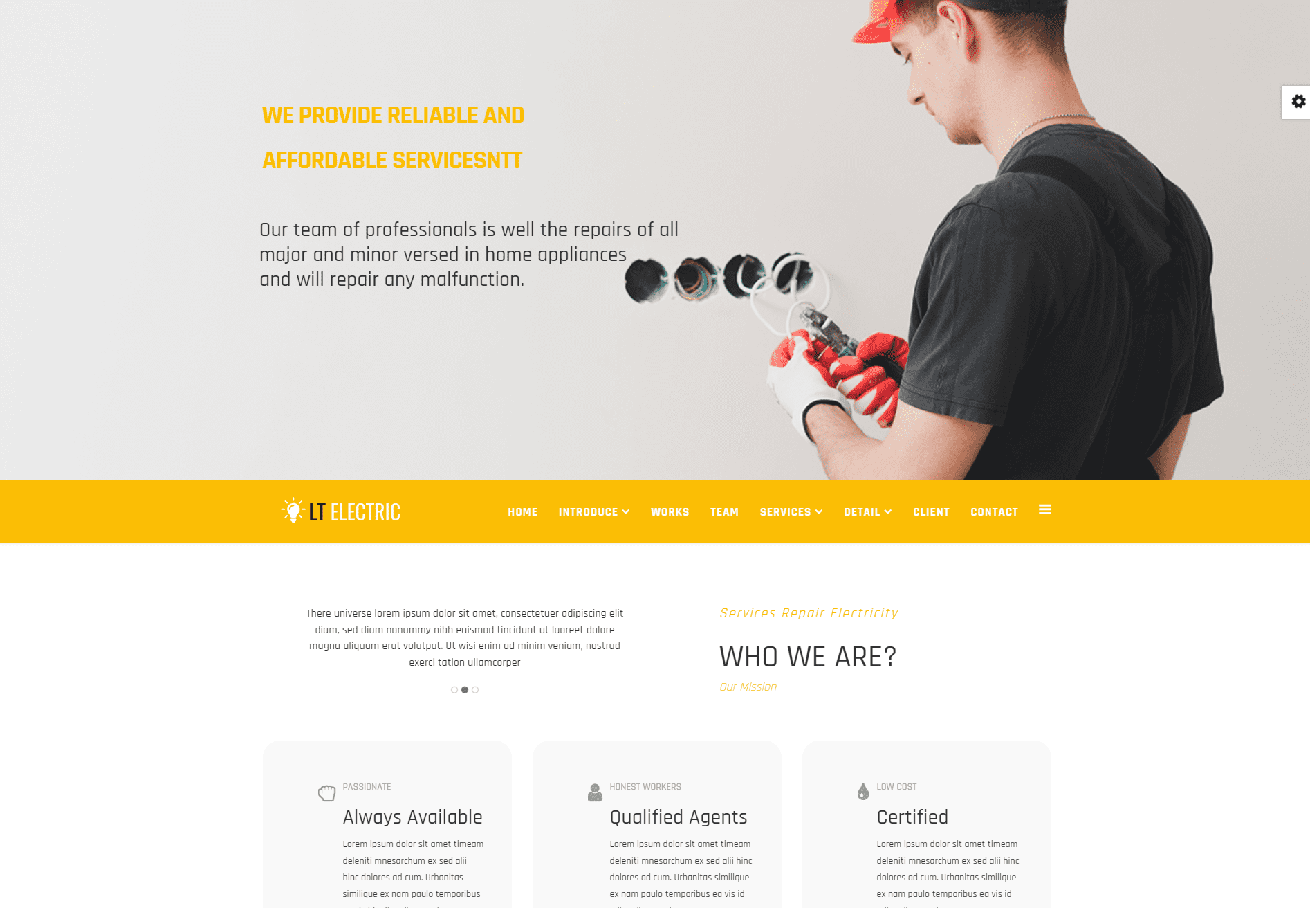 Lt Electric Onepage Free Single Page Responsive Electrical Website Template Freemium Download