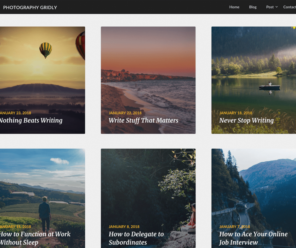 Free Photography Gridly WordPress Theme