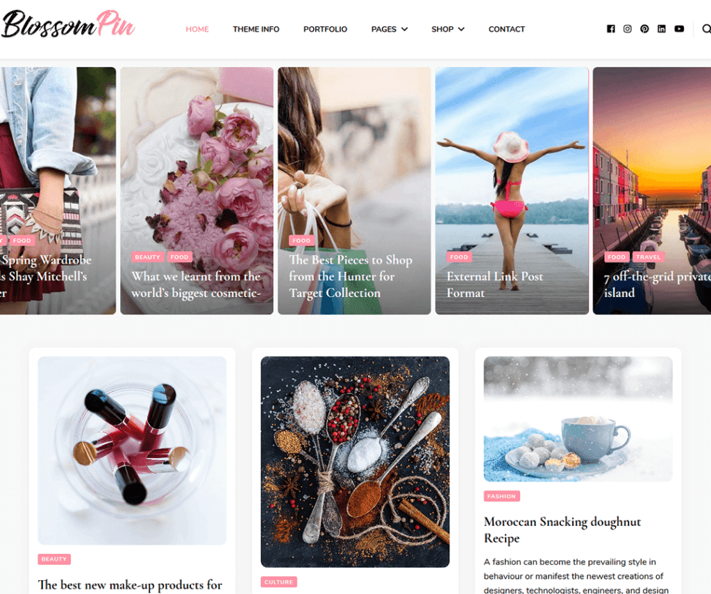 Free Blossom Pin WordPress Theme