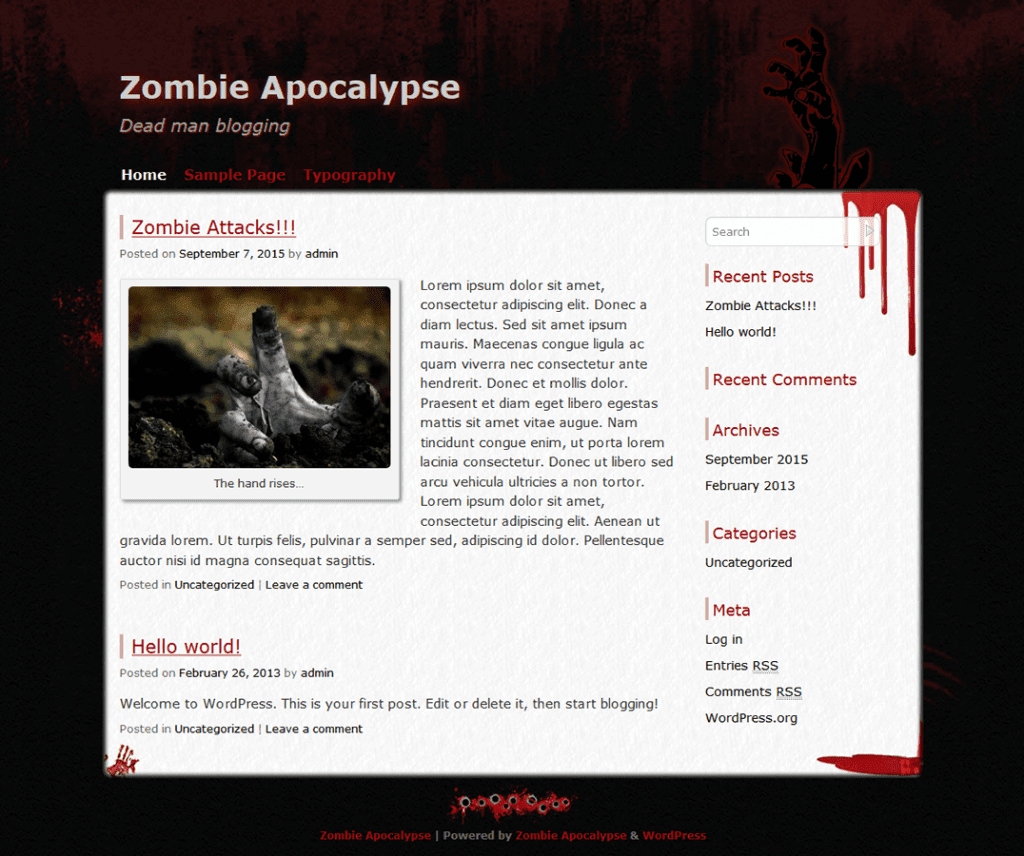 Free Zombie Apocalypse WordPress theme