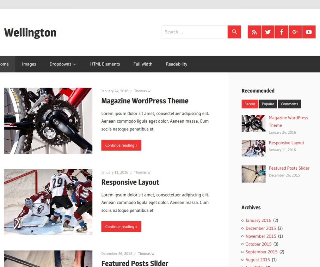 Free Wellington WordPress Theme