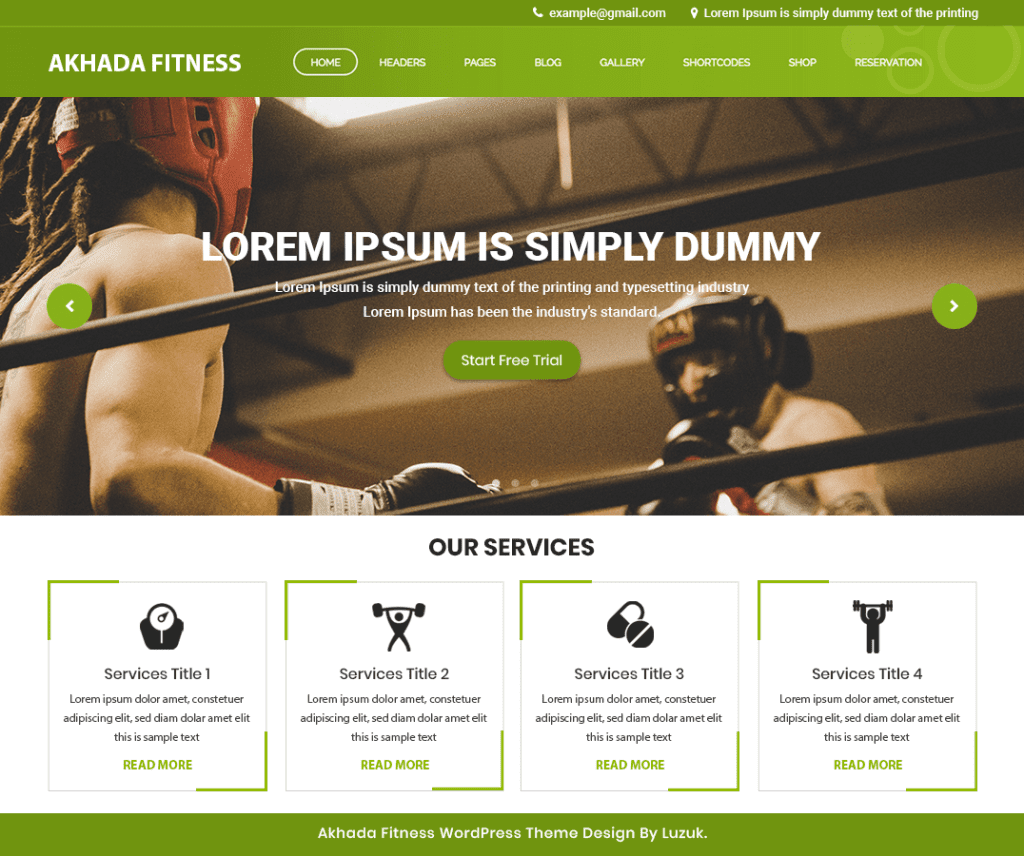 Free Akhada Fitness Gym WordPress Theme