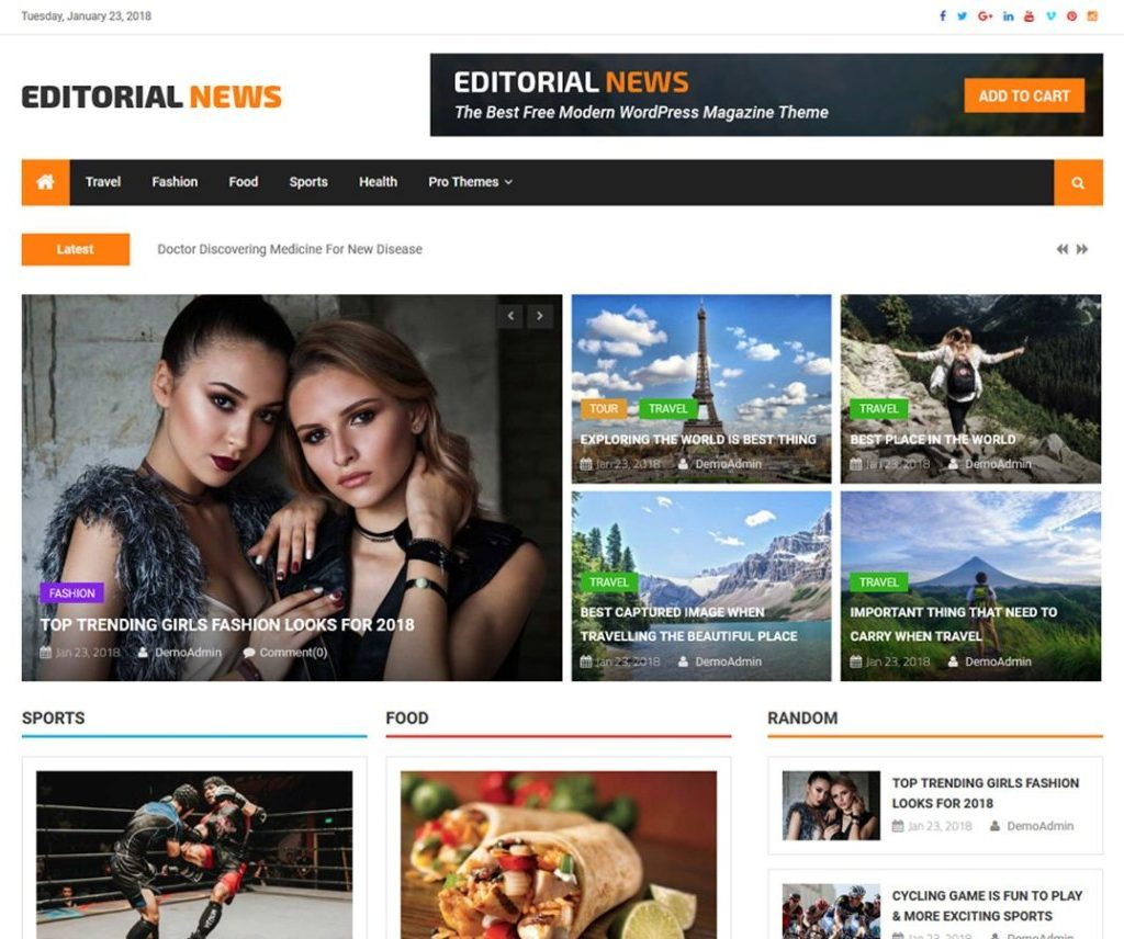 Free Editorial News WordPress Theme