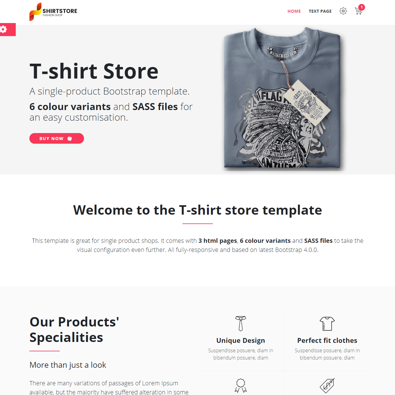 T-shirt Store Free Bootstrap Template